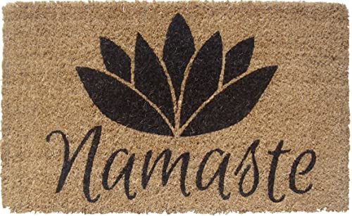 Entryways 1077S Namaste Handmade Hand-Stenciled All-Natural Coconut Fiber Coir Doormat, 18 x 30 x .75 , Black