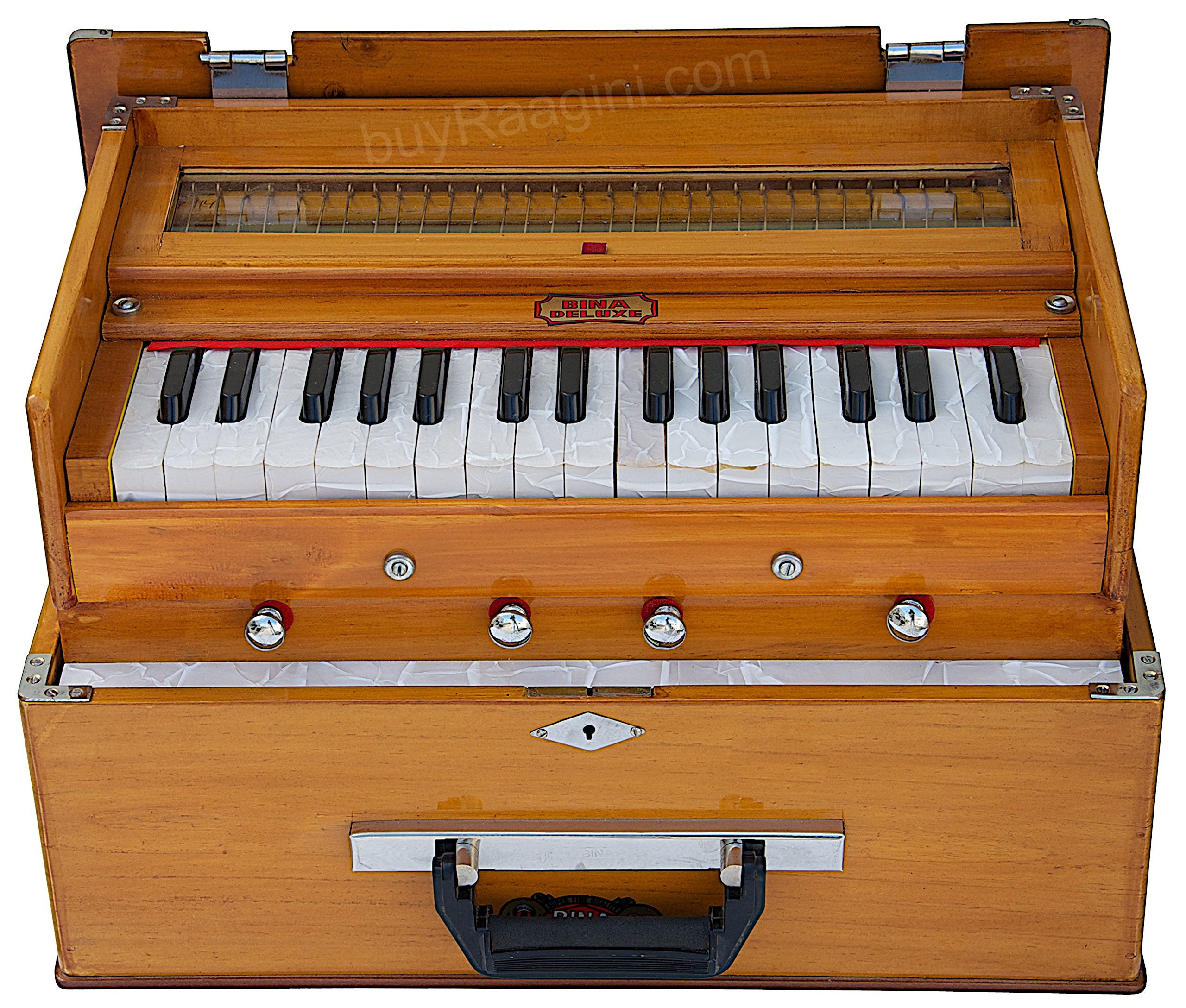 BINA 23B Deluxe, Harmonium, 2 1/2 Octaves, 32 Keys, Small, Portable, Compact, Special Reeds, Safri, Natural Color, Bag, Book, Kirtan, Musical Instrument Indian (PDI-DAA)