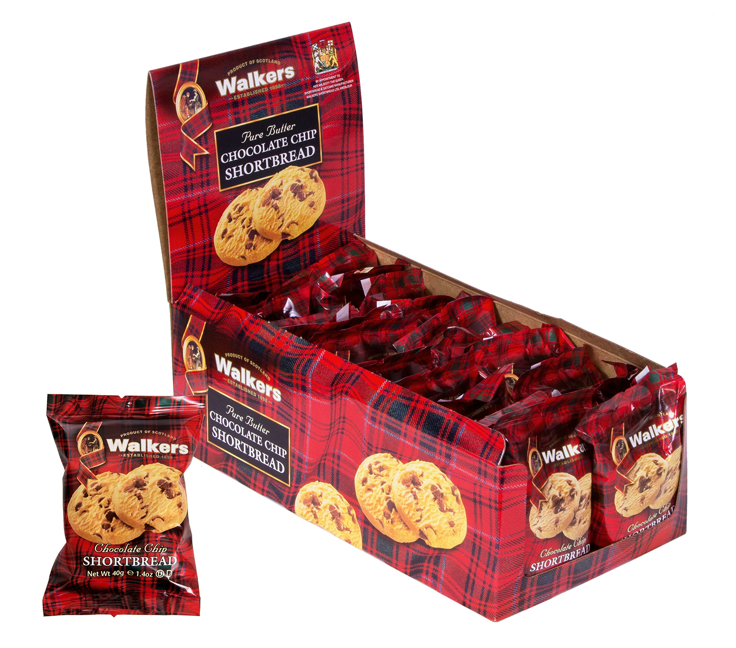 Walkers Shortbread Chocolate Chip, Traditional Pure Butter Shortbread Cookies, 2 Count (Pack of 20) by Walkers Shortbread
