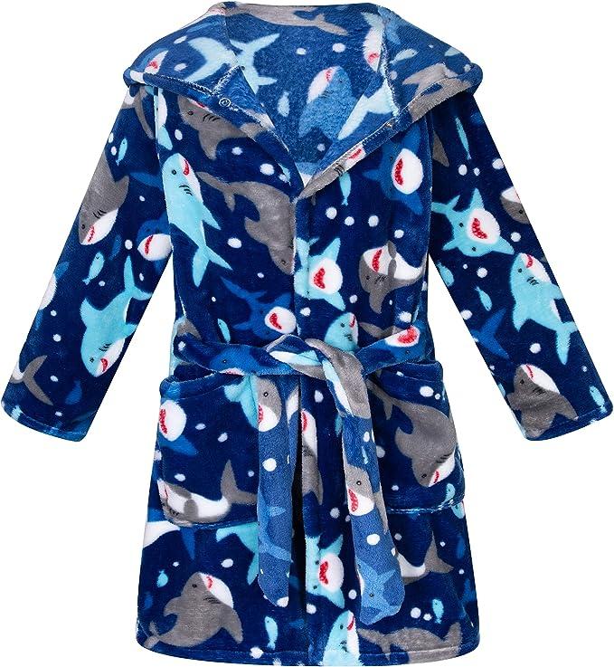 Little Boys Girls Plush Bathrobe Unisex Toddler Kids Robe Pajamas Sleepwear