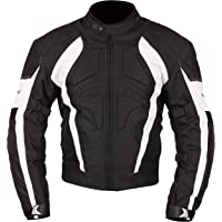 Milano Sport Gamma Motorcycle Jacket with White Accent (Black, XX-Large)