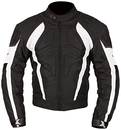 Milano Sport Gamma Motorcycle Jacket with White Accent (Black, XXX-Large)