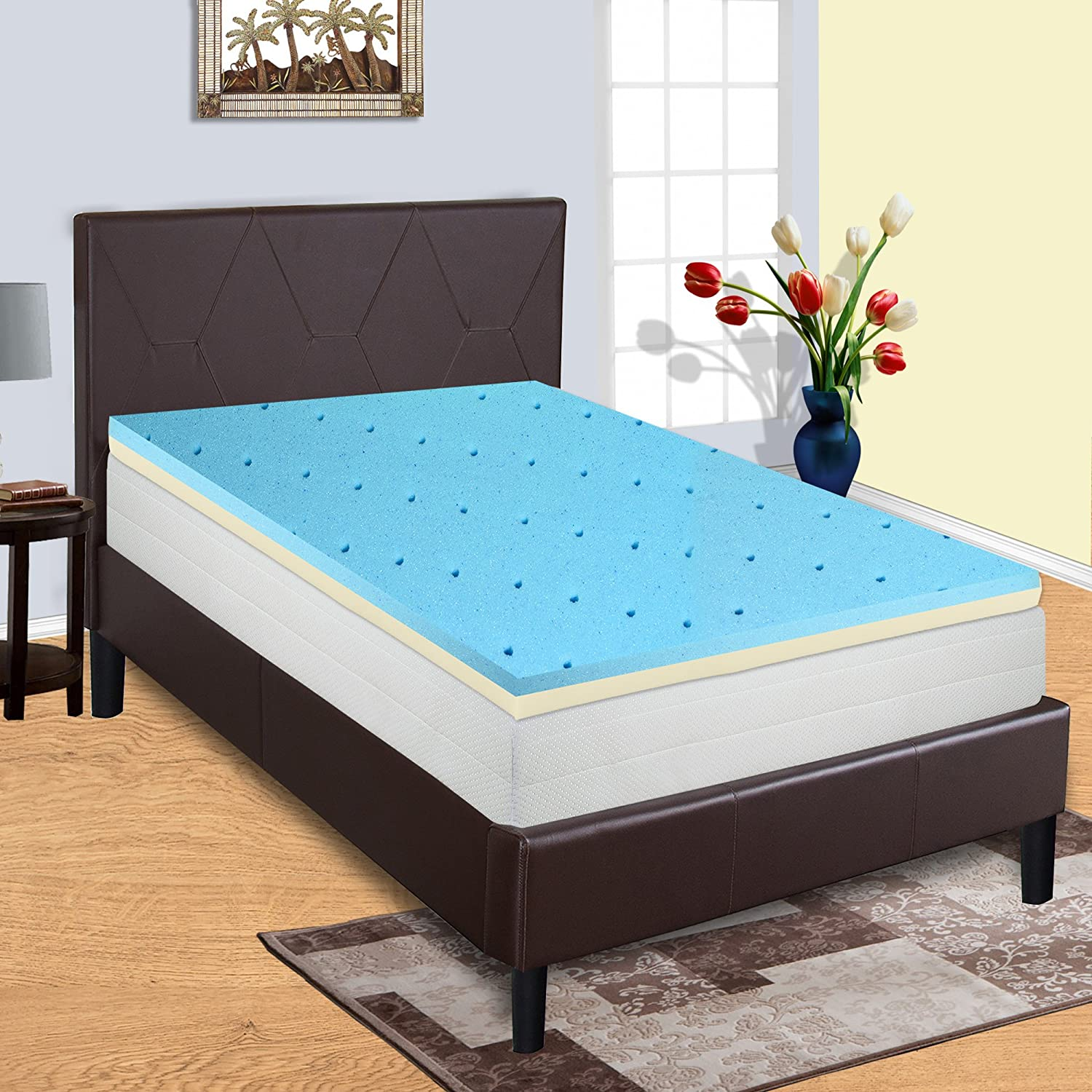 amazon com gel infused high density foam topper for queen size