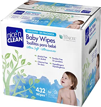 Nice n Clean Unscented Baby Wipes, 432 Count