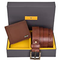 Urban Forest Brian Redwood Leather Wallet & Redwood Casual Textured Belt Combo Gift Set for Men