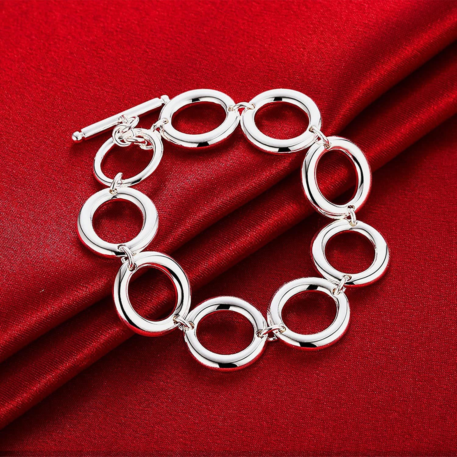 Aokarry Jewelry Link Bracelet,Wedding Bracelet Bangle Copper Circle Chain n Silver Length 8 in