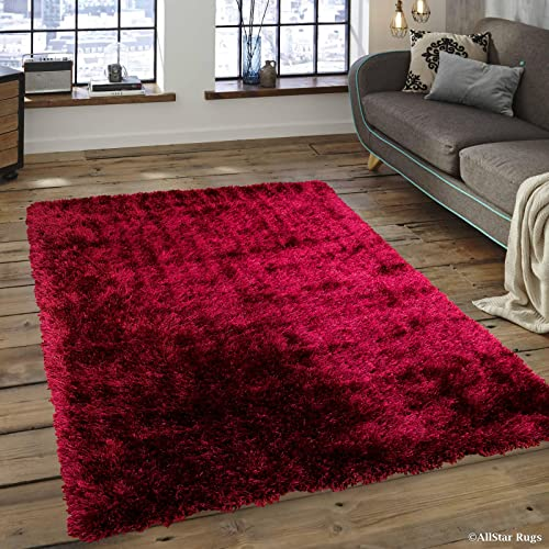 Allstar 8×11 Burgundy Solid Modern and Contemporary Hand-Tufted Rectangular Shag Accent Rug 7' 6″ x 10' 4″