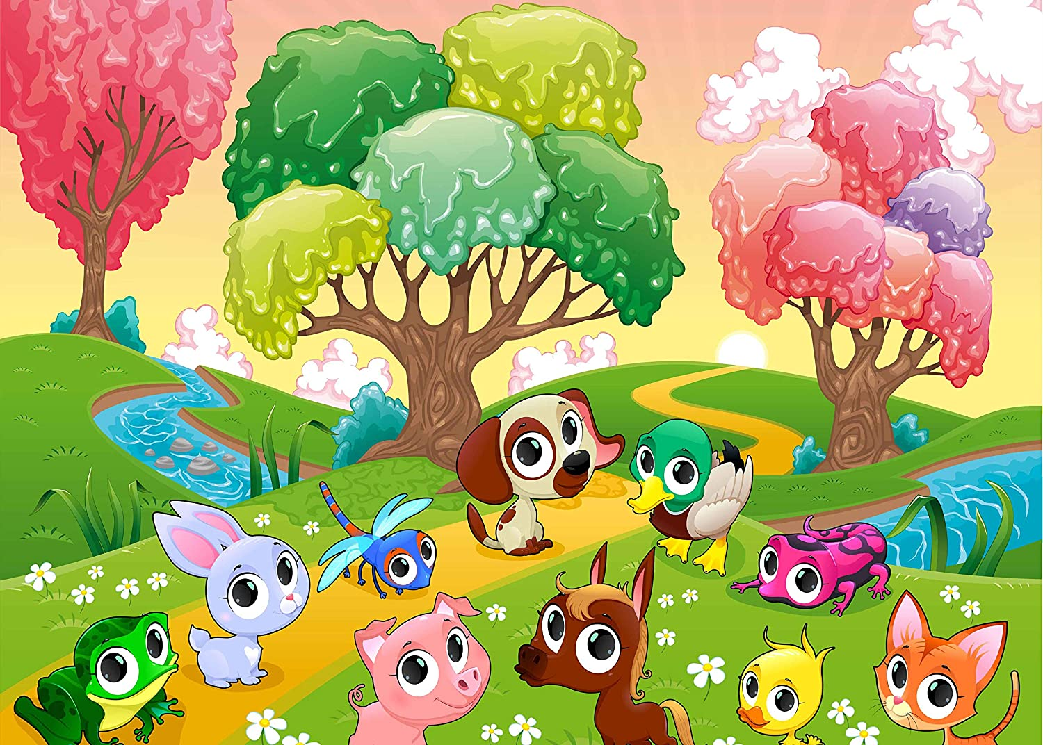 FUERMOR Cartoon Animal Background Fairy Tale Forest Cute Animal Pphotography Background Decoration Banner Studio Props 7x5ft BJQQFU95