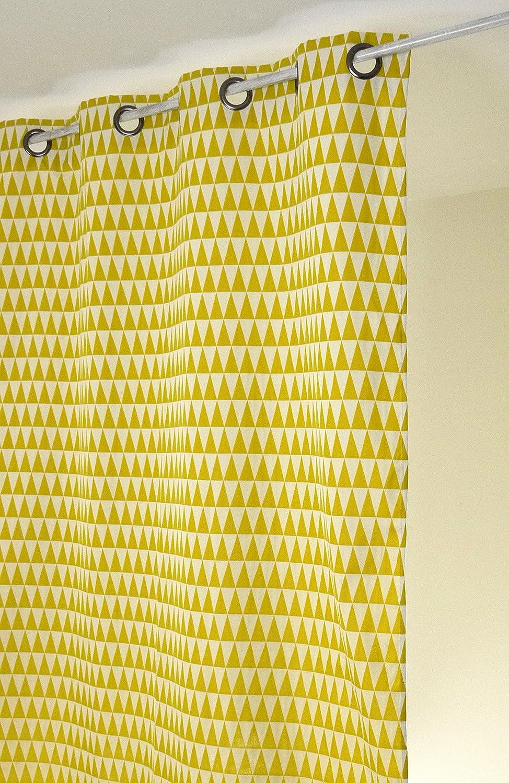 Linder Rideau Motifs G/éom/étriques /à Oeillets Polyester Bordeaux 135 x 260 cm