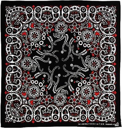 Blanco y Negro Rojo Costura pañuelo Bandana Pañuelo: Amazon.es: Deportes y aire libre