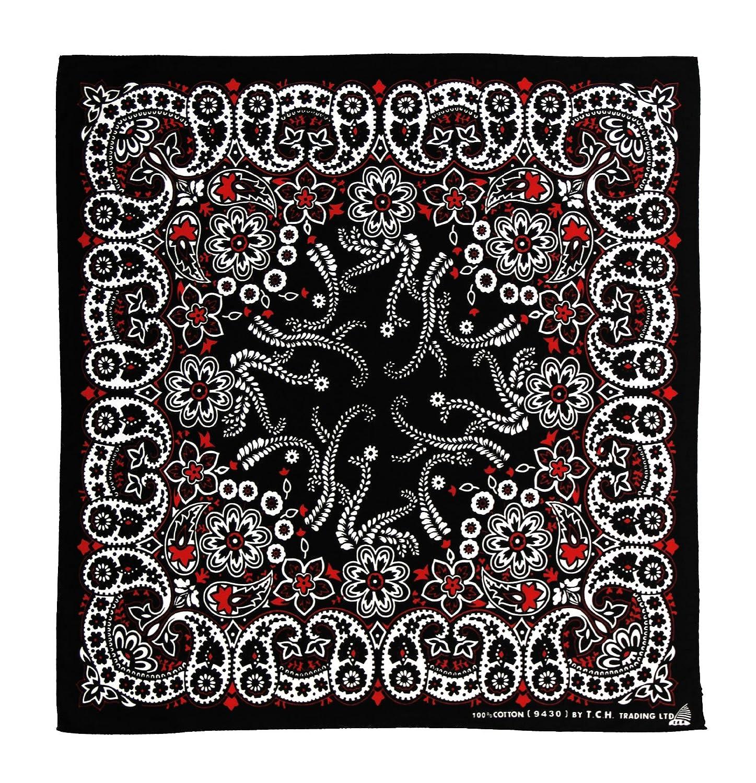 Noir Blanc Rouge motif bandana collier bandana rouge