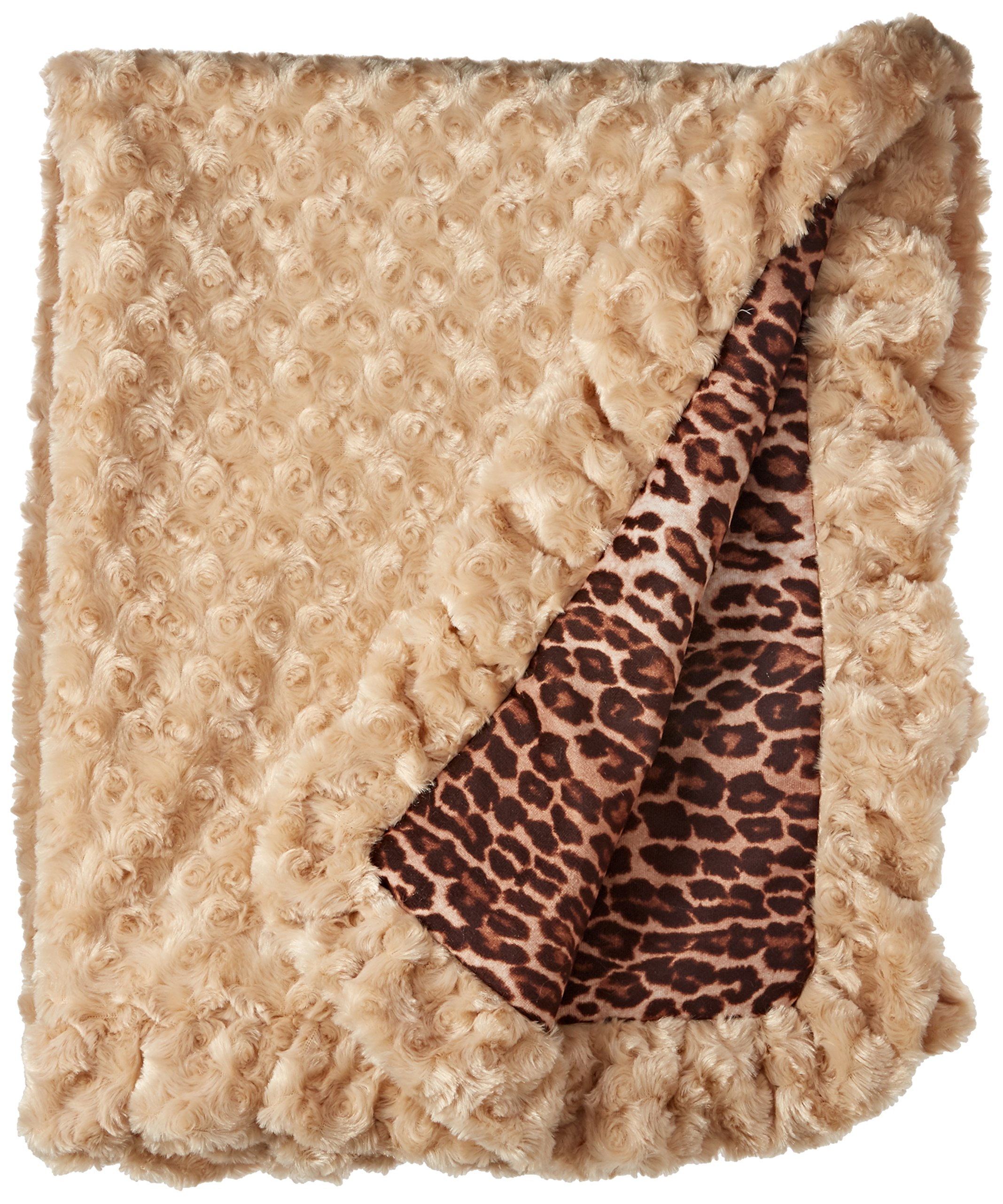 BESSIE AND BARNIE Camel Rose/Chepard Luxury Ultra Plush Faux Fur Pet, Dog, Cat, Puppy Super Soft Reversible Blanket (Multiple Sizes)