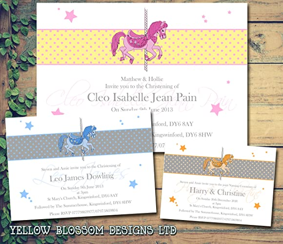Carousel horse personalised childrens christening naming ceremony carousel horse personalised childrens christening naming ceremony confirmation baptism invitations printed invites boy girl joint party stopboris Images