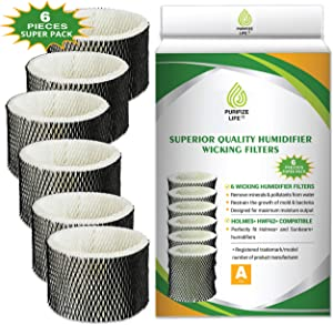 Purifize Life 6 Pack Premium Replacement Wick Filter for Holmes Humidifier HWF62, HWF62S HWF62D Filter A and Other Sunbeam Cool Mist Models