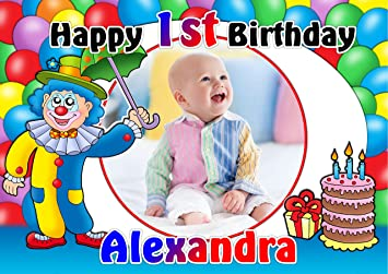 Personalisierbar Mädchen Jungen Clown Happy Birthday Foto Poster