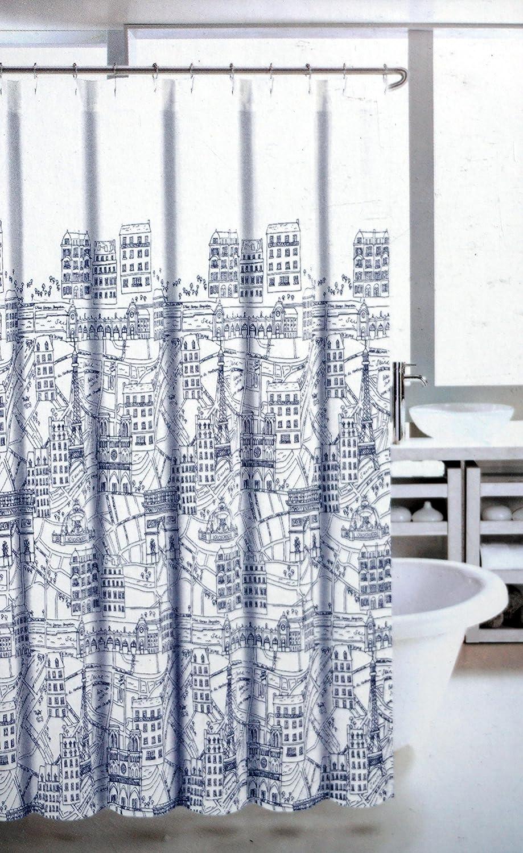 Exceptional Amazon.com: Nicole Miller La Tour Eiffel Fabric Shower Curtain, Paris City  Scene, Blue And White: Home U0026 Kitchen