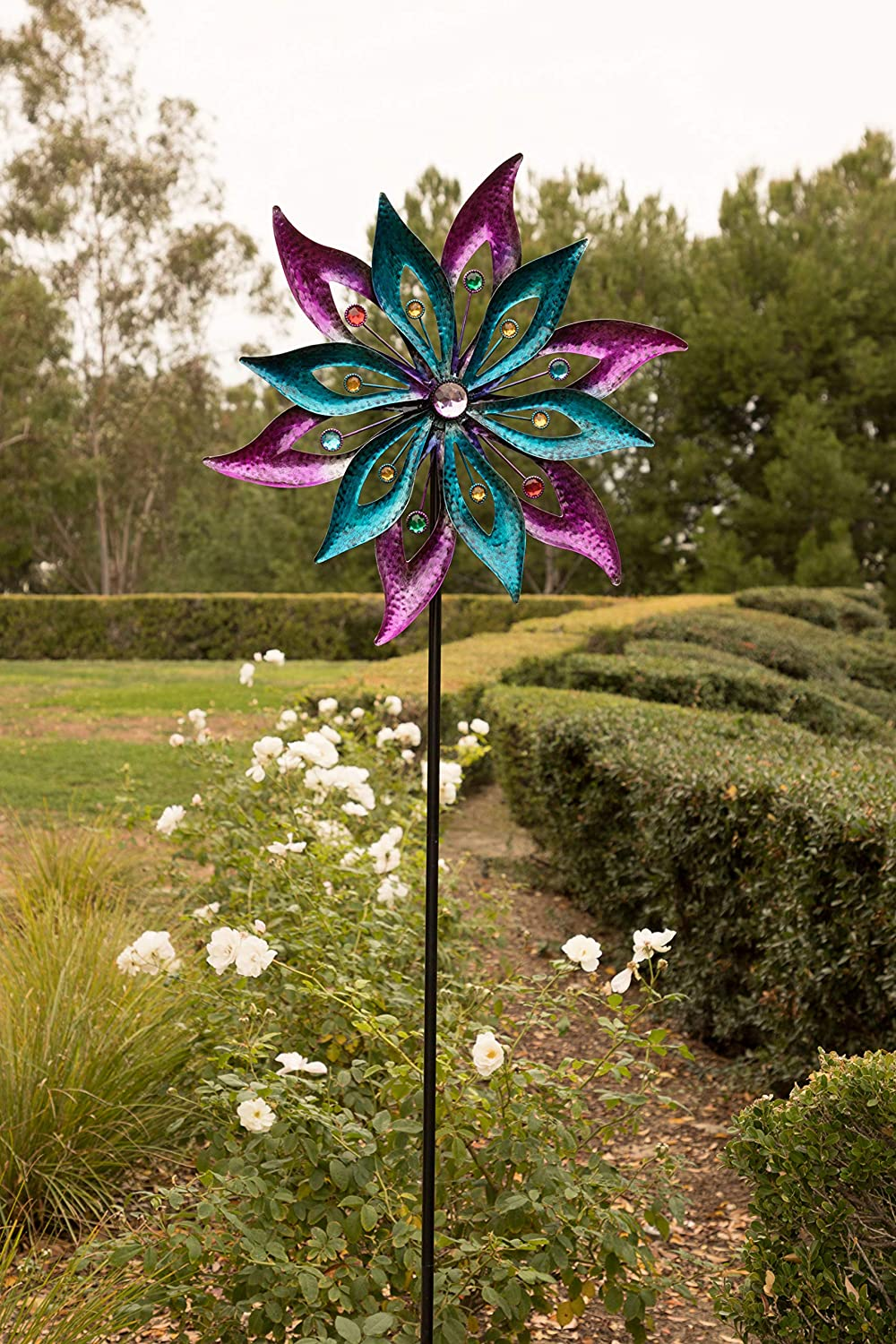 Alpine SLL1872 Dual Floral Kinetic Wind Spinner Garden Stake, 64 inch Tall Purple and Aqua