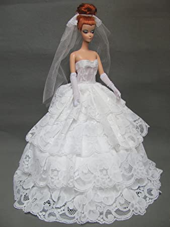 Amazon.com: Barbie Doll Wedding Dress with Veil and Gloves Fit ...
