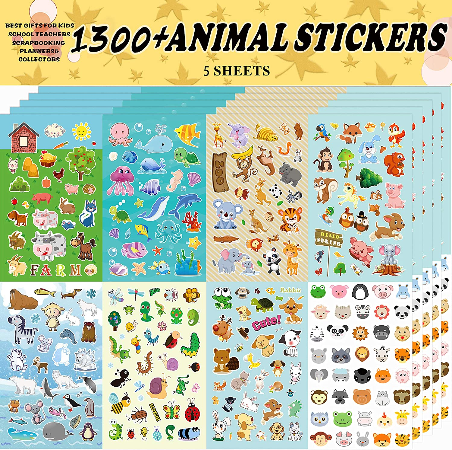 Sinceroduct Animal Stickers, Stickers for Kids Assortment Set 1300 PCS, 8 Themes Collection for Children, Teacher, Parent, Grandparent, Kids,Craft,School, Scrapbooking,Present Idea for Children,Chris