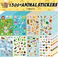 Sinceroduct Animal Stickers, Stickers for Kids Assortment Set 1300 PCS, 8 Themes Collection for Children, Teacher, Parent, Grandparent, Kids, Craft, School, Scrapbooking, Present Idea for Children, Chris