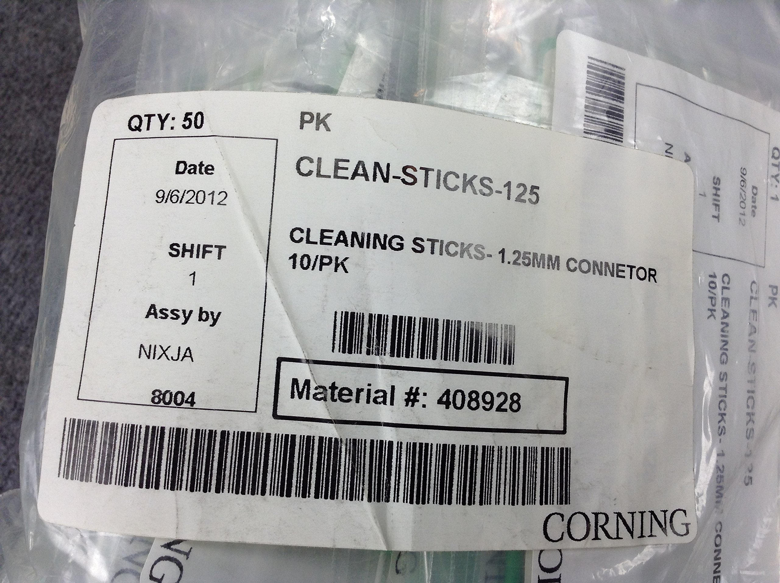 Corning Clean-Sticks-125 Fiber Optic Cleaning Sticks 10 Pack; 1.25Mm Connectors