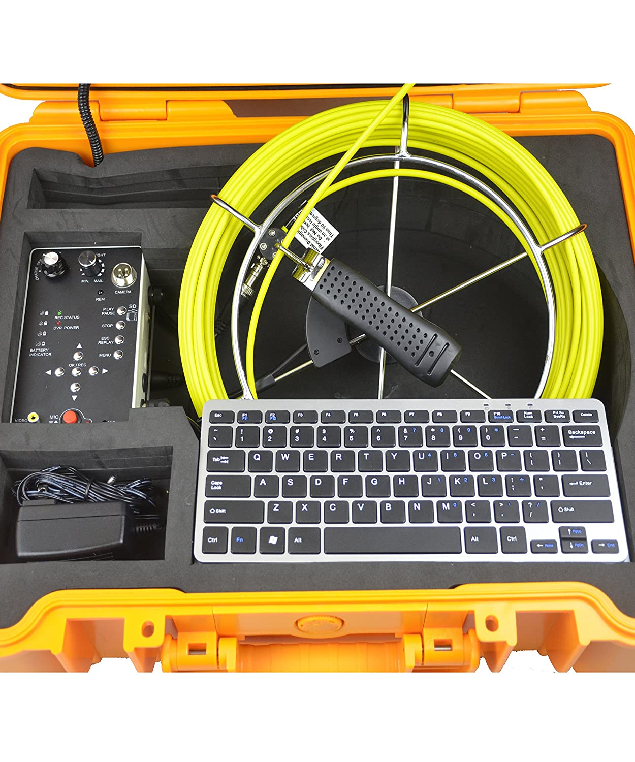 Video Audio Record Keyboard 512hz Sonde Distance Counter Photograph Rechargeable 6600mah Battery Self Leveling Video Inspection Drain Camera Survey Sewer Pipe Camera with 130ft Cable LED Adjust