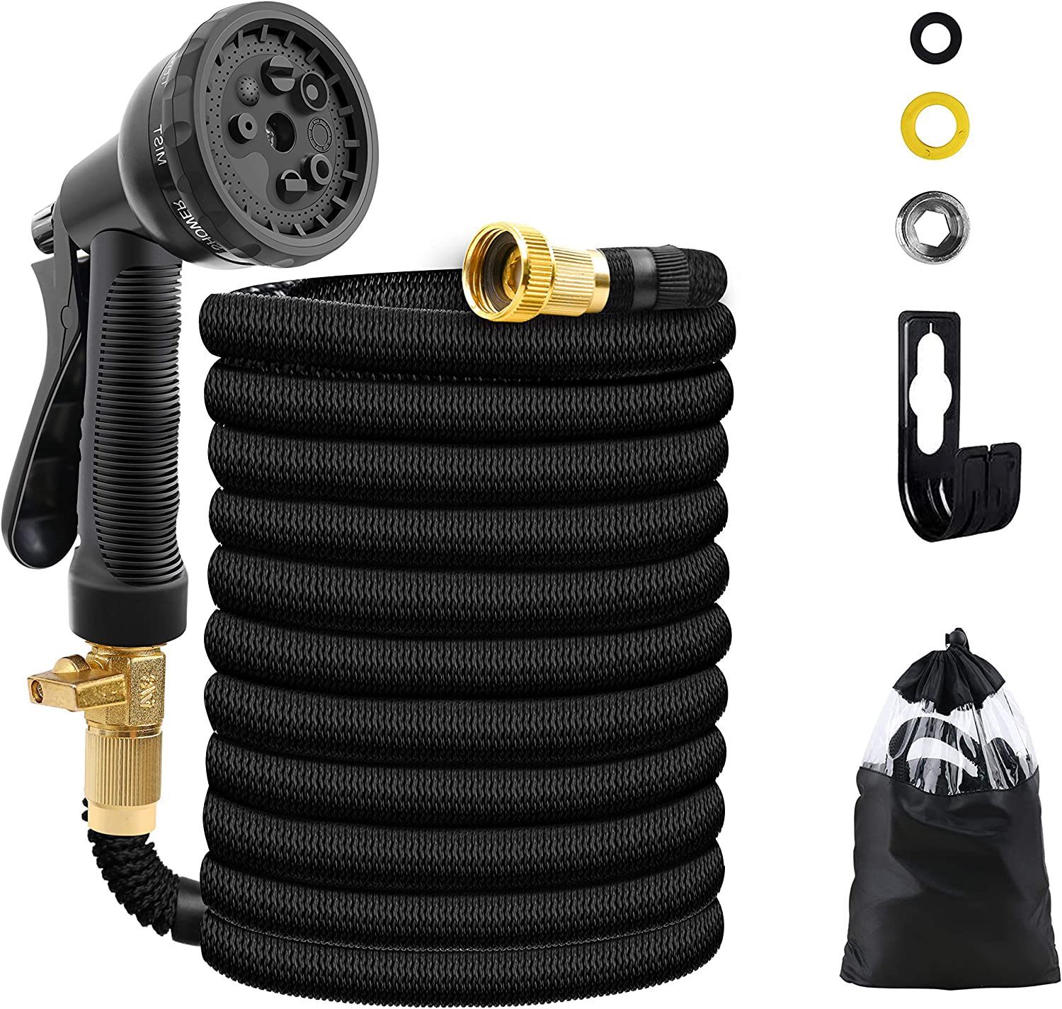 UJUJIA Expandable Garden Hose, Extra Strength Fabric, Flexible Expanding Water Hose with 8 Function Spray Nozzle (75)