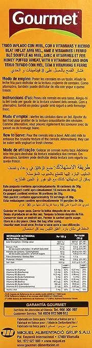 Gourmet - Trigo inflado con miel - con 8 vitaminas y hierro - 500 g: Amazon.es: Alimentación y bebidas