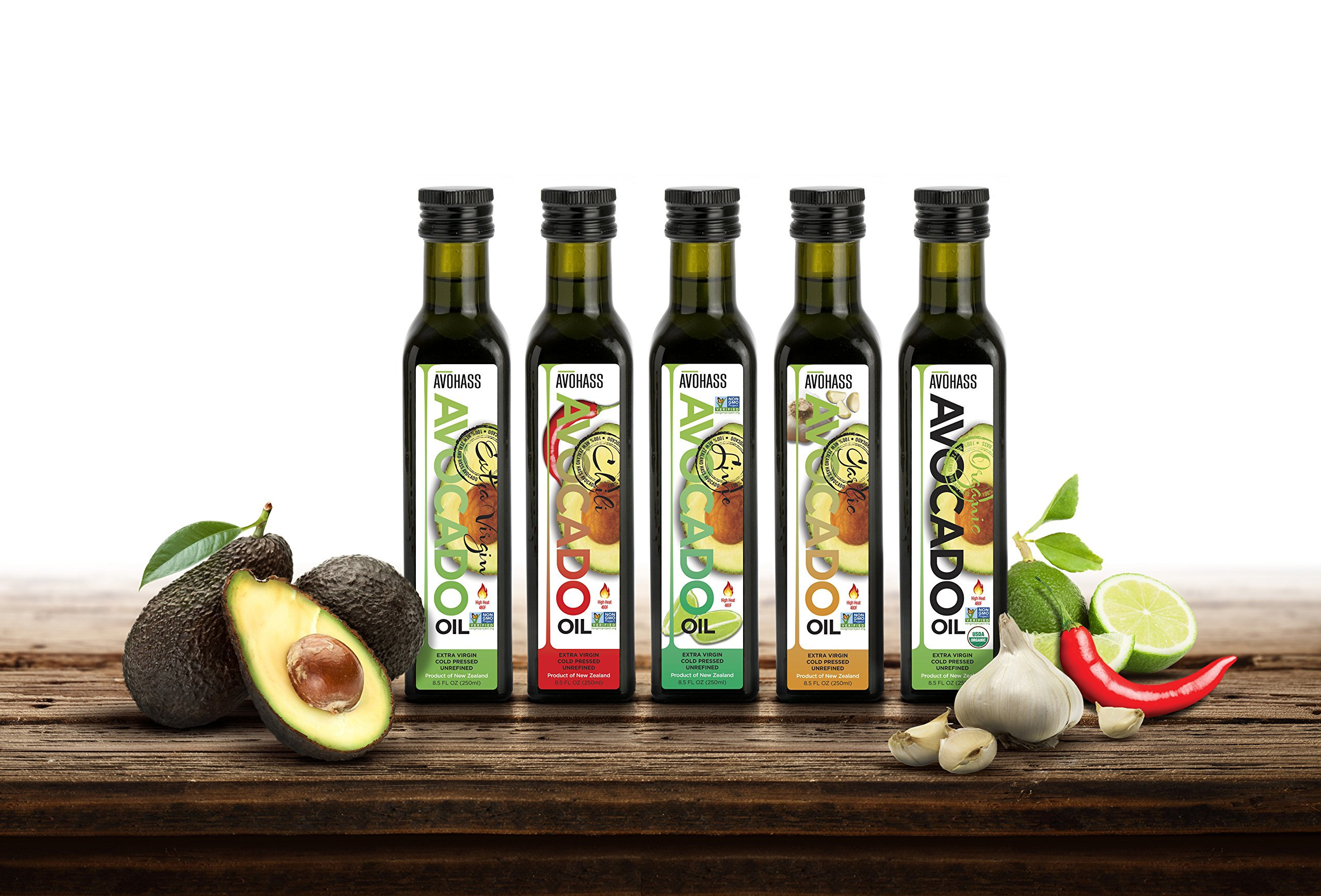 Avohass Extra Virgin Avocado Oil Ultimate Gift Collection 5 Bottle Assortment
