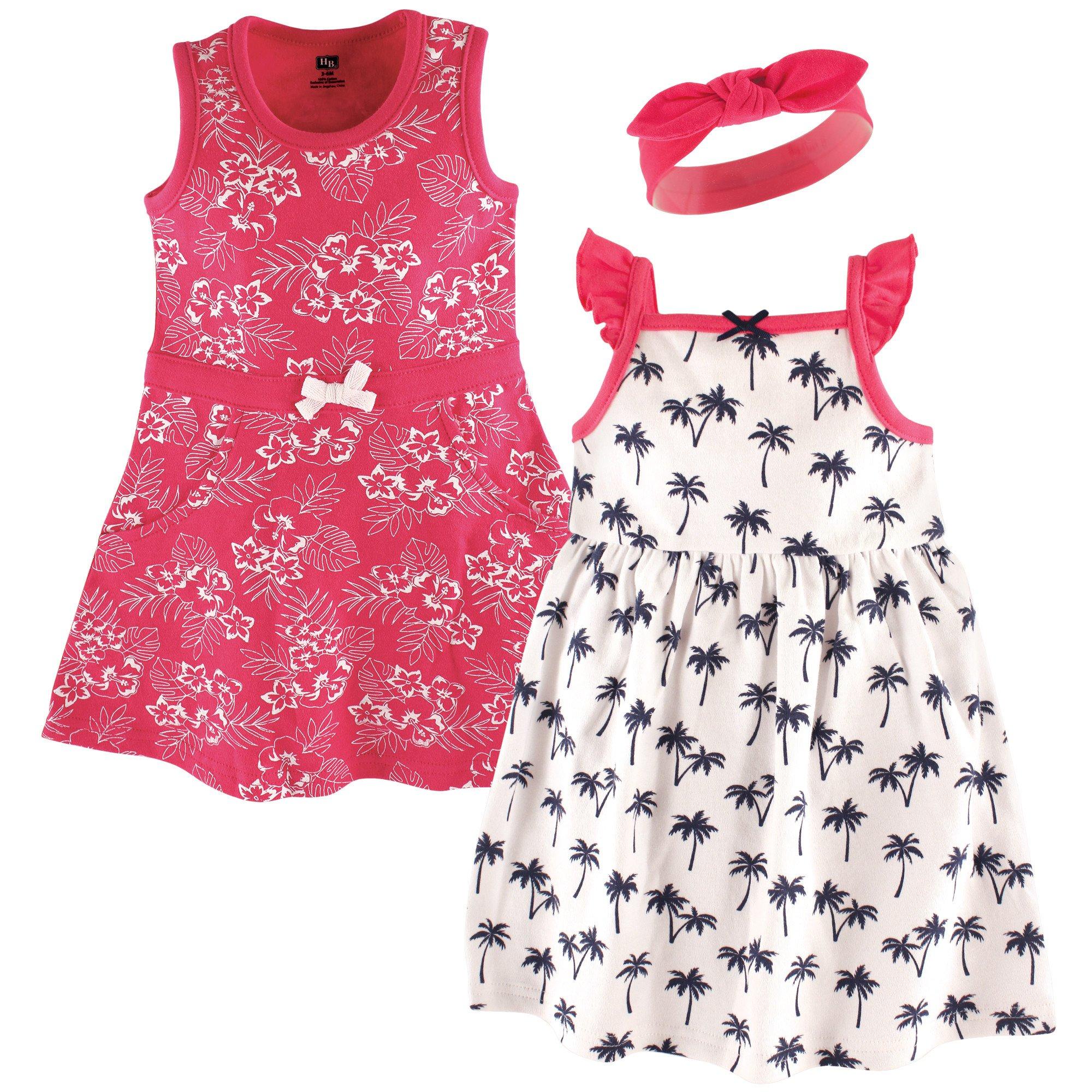 Hudson Baby Baby Girls 3 Piece Dress and Headband Set Playwear