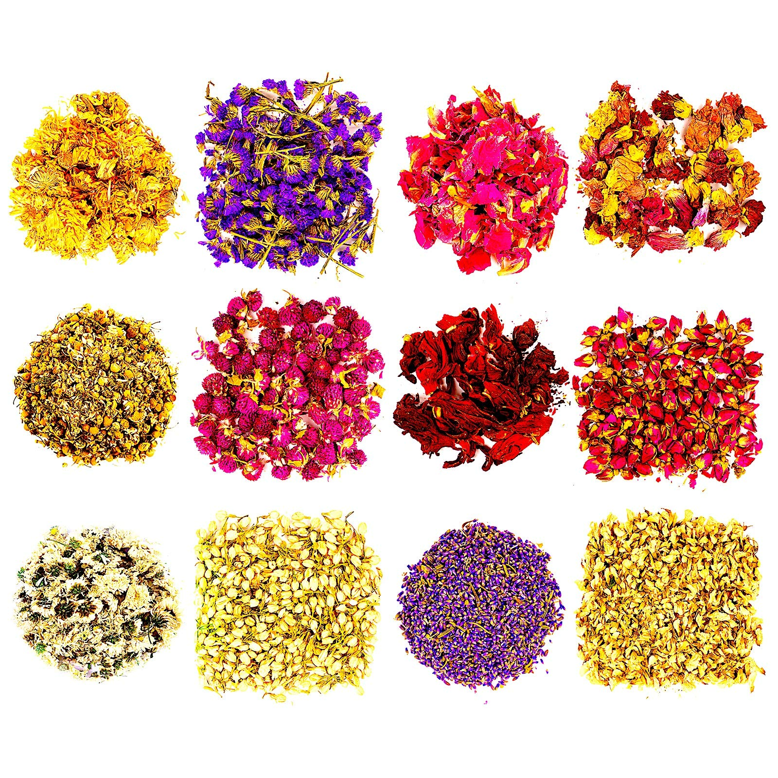 Dried Herbs and Flowers for Soap Making - 12 Mix Pack Flower Arrangements Rose Petals Lavender Jasmine and More - for DIY Crafts Projects Bath Candle Lip Gloss Essential Oils Herbal Witch Decorations