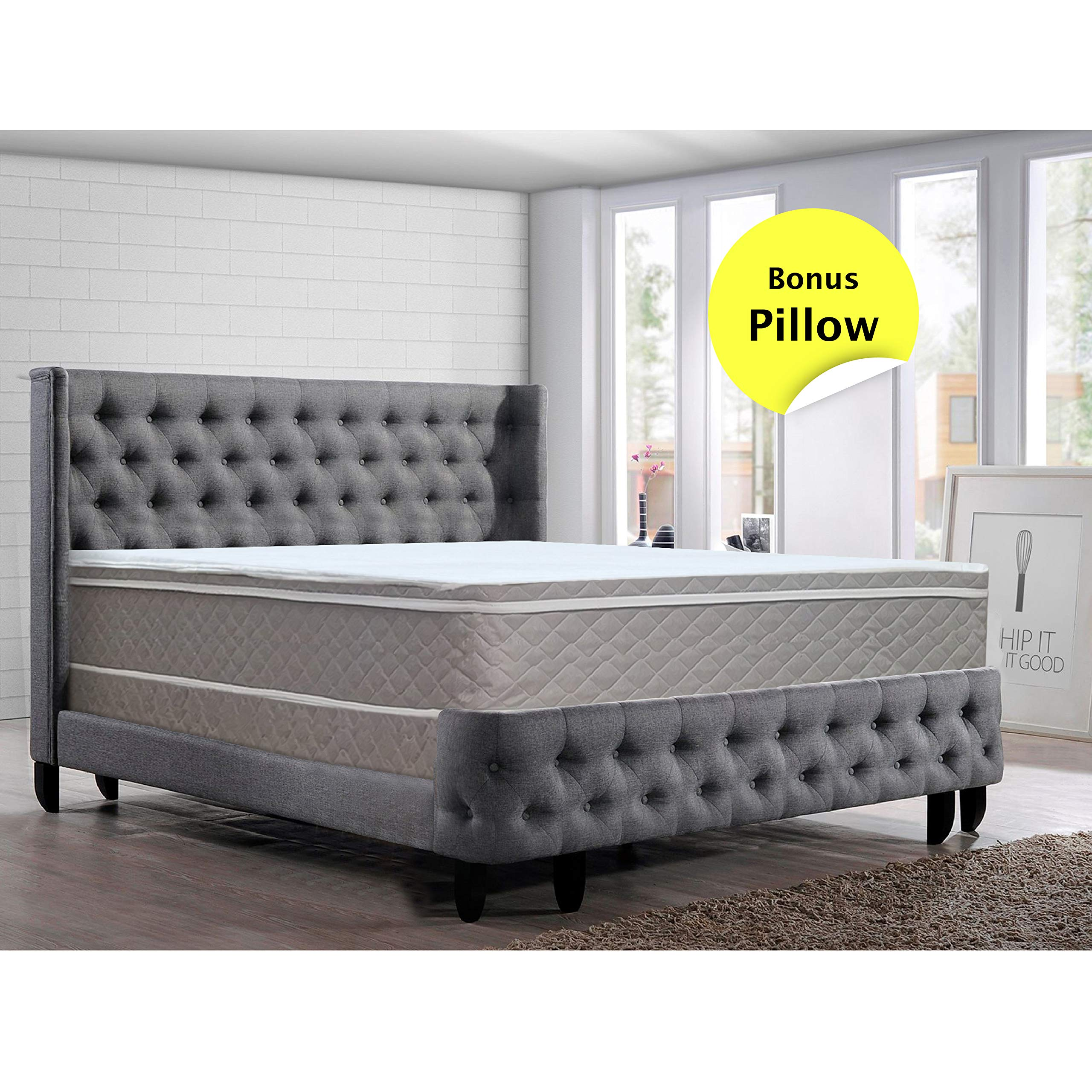 Greaton 10-Inch Wood Meduim Plush Eurotop Pillowtop Innerspring Mattress And 8-Inch Wood Box Spring/Foundation Set Queen Size by GREATON