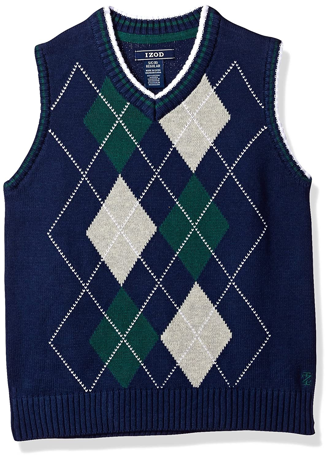 IZOD Boys' Big Double Argyle Sweater Vest, Dark Blue, Small IZOD Children' s Apparel Z813084W