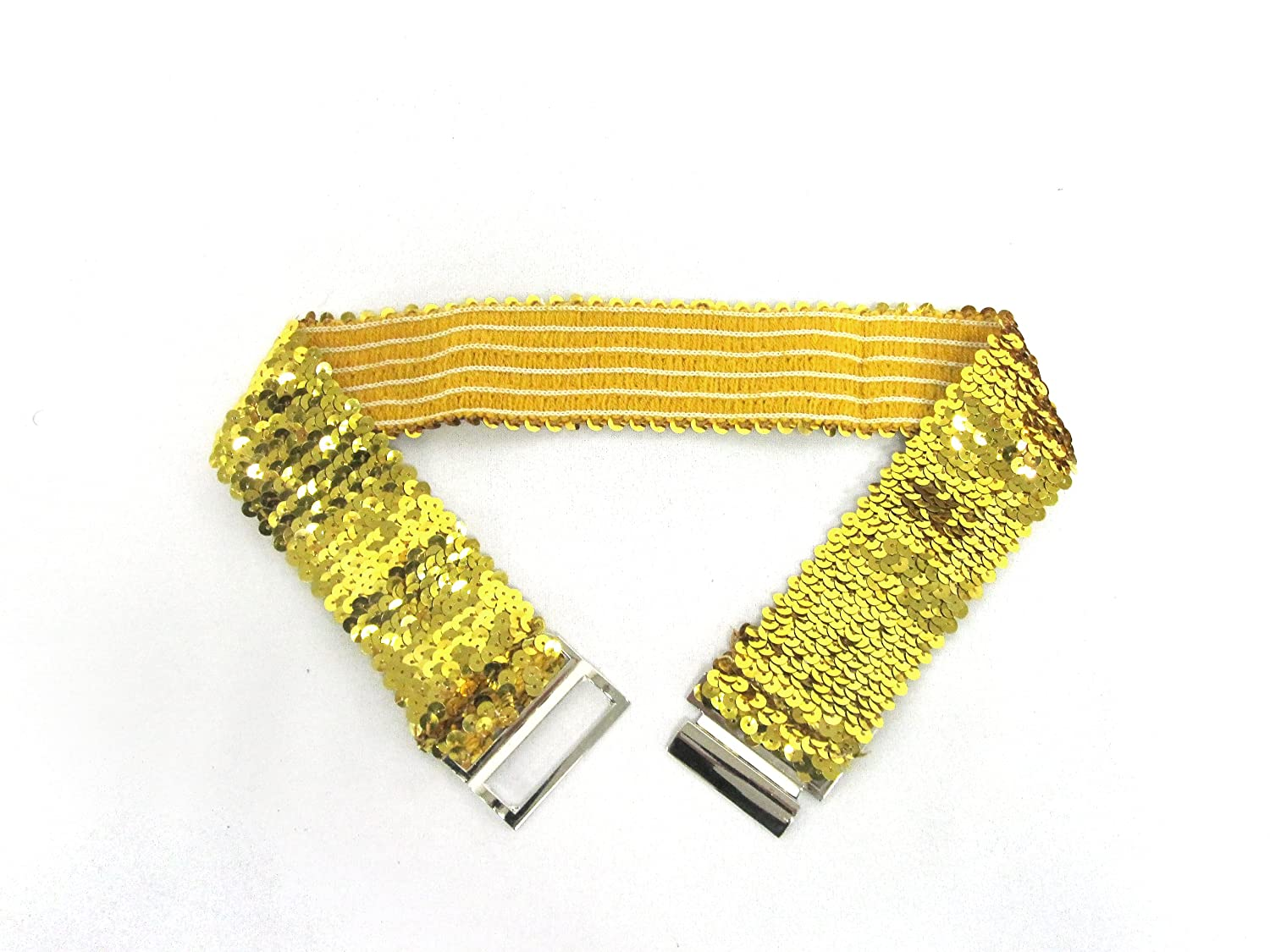 Womens Sliding Push-in Silver Buckle on Quality Elastic Sequined Stretch Belt