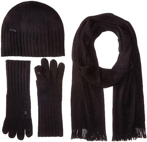 Calvin Klein Women's 3 Piece Belly Band Set-hat, Scarf, Flip Tip Glove