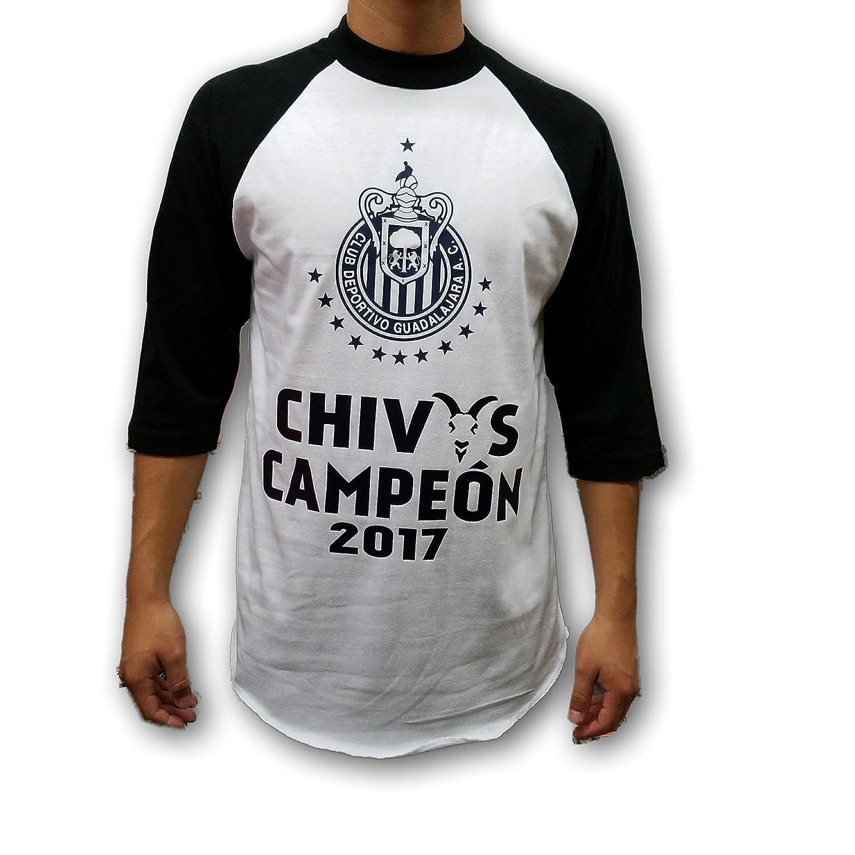 Cheap Chivas del Guadalajara 2017 Campeon Men's Black & White 3/4 Sleeve Shirt hot sale