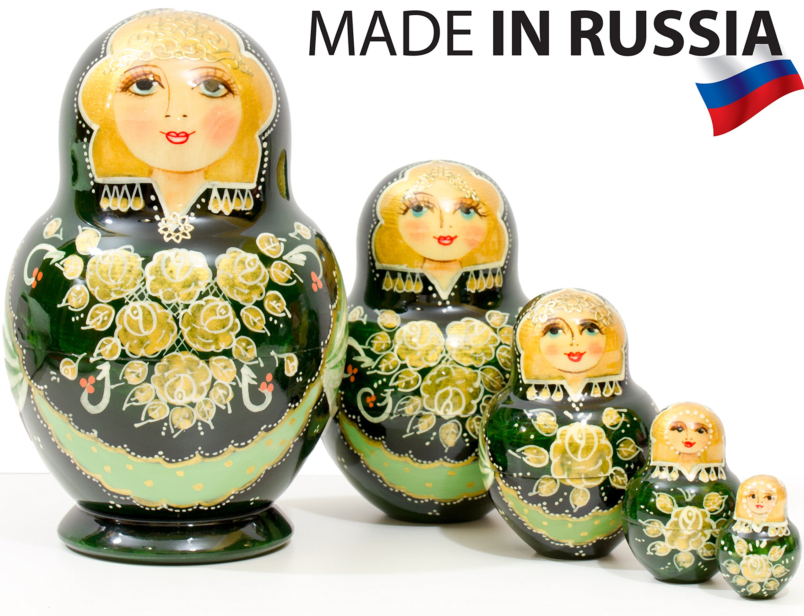 Russian Nesting Doll - Anastasia - Hand Painted in Russia - Traditional Matryoshka Babushka (6``(5 Dolls in 1), Green)