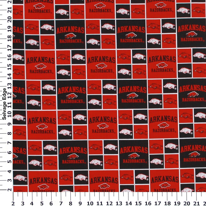 University of Arkansas Fleece Fabric Sold by the Yard-Arkansas Razorbacks Heather Verbiage Fleece Blanket Fabric-SYKEL ARK1162