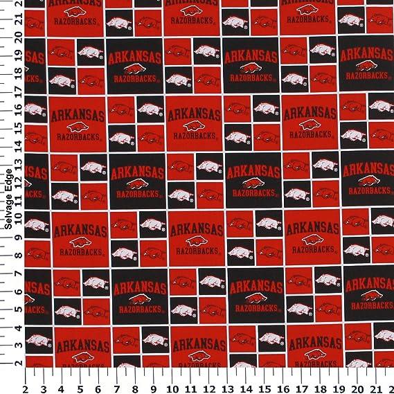 NCAA Arkansas Razorbacks RedBlack Squares Fabric ARK-020 from Sykel by the yard