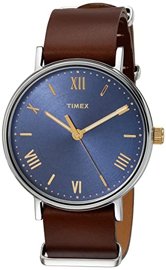 Amazon.com: Timex Mens TW2R63900 Southview 41 Tan/Silver-Tone/Blue Leather Strap Watch: Watches