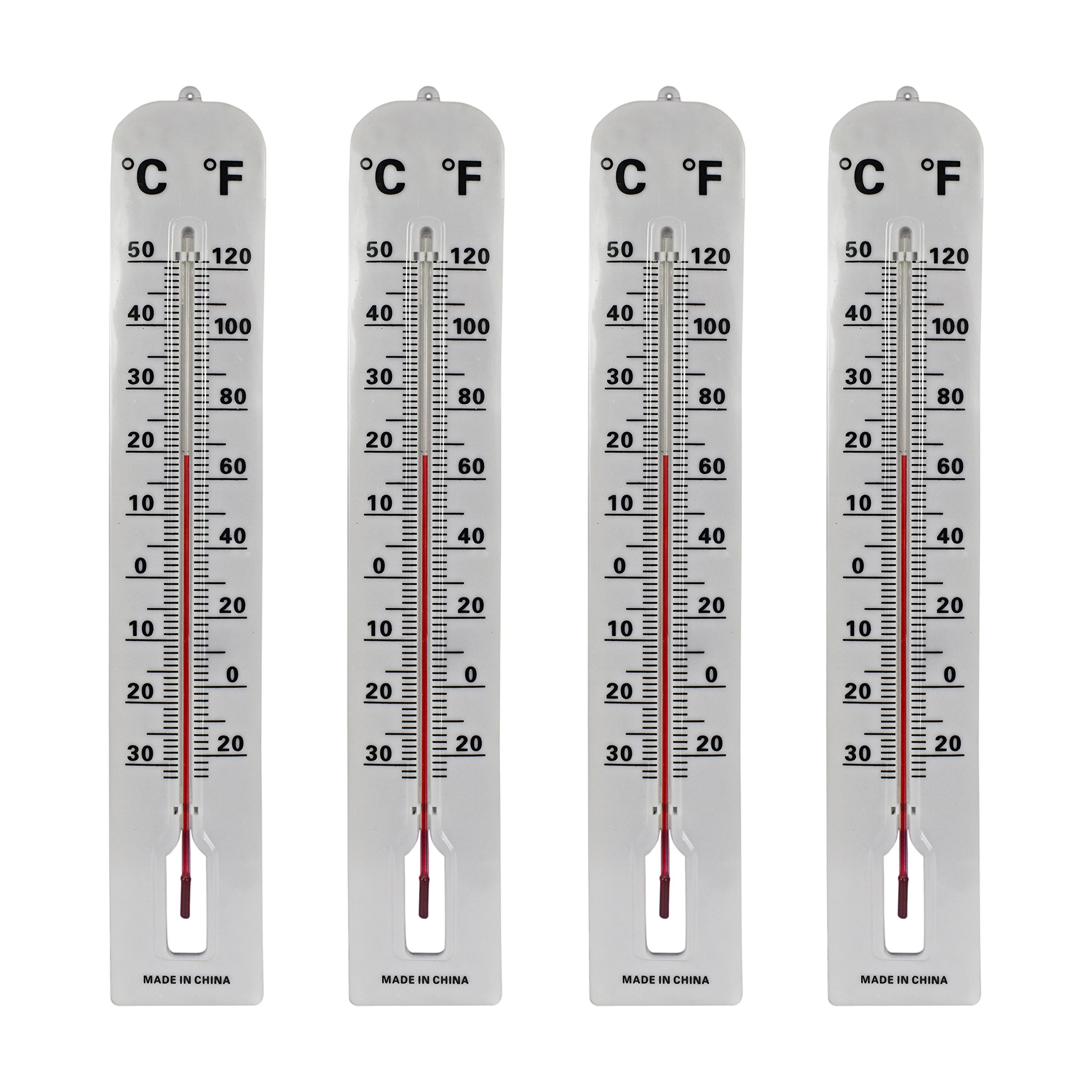 Black Duck Brand Set of 4 Jumbo Wall Indoor/Outdoor Thermometers! Includes Mounting Hardware! 16'' Thermometer Perfect for Indoor or Outdoor Use!