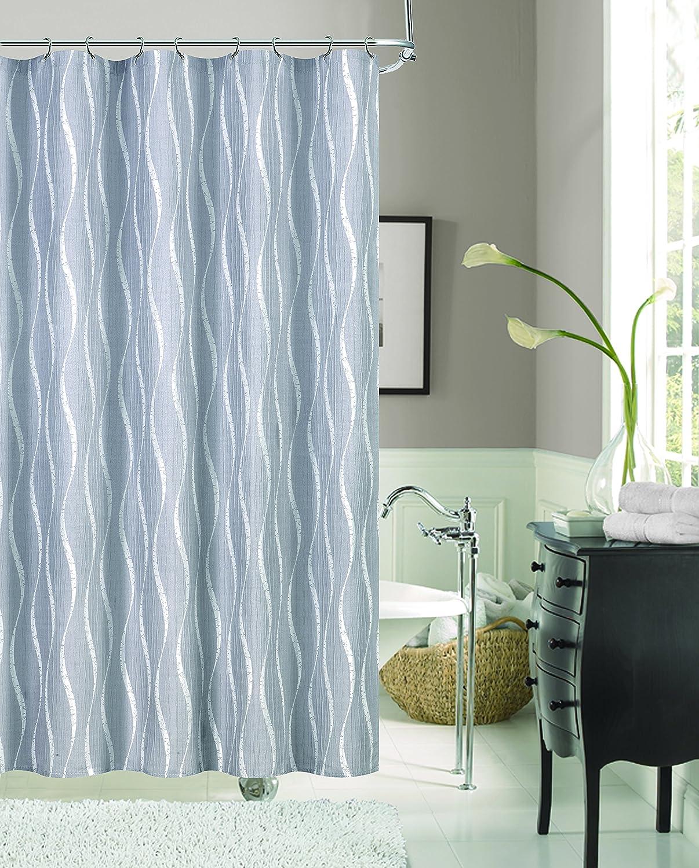 Dainty Home Morocco Shrink Yarn Shower Curtain, 72 x 72'', Silver