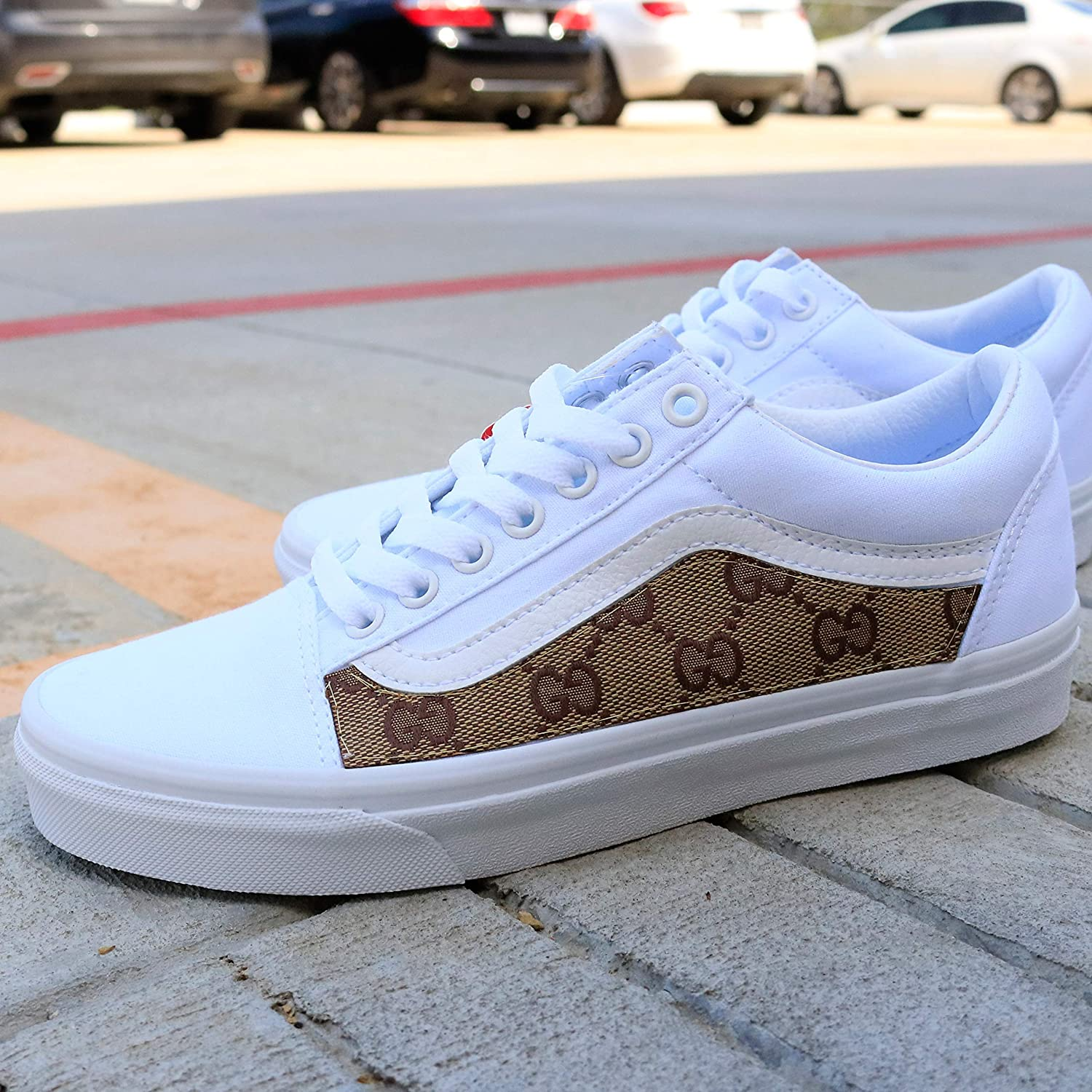b3b561413dcb8 Vans White Old Skool x GG Pattern Custom Handmade Uni-Sex Shoes By Patch  Collection
