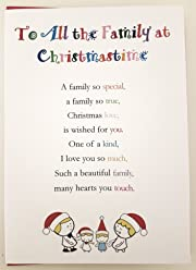 To All the Family at Christmastime - Cute Christmas Luxury Greetings Cards by Clarabelle Cards 5 x 7 inches