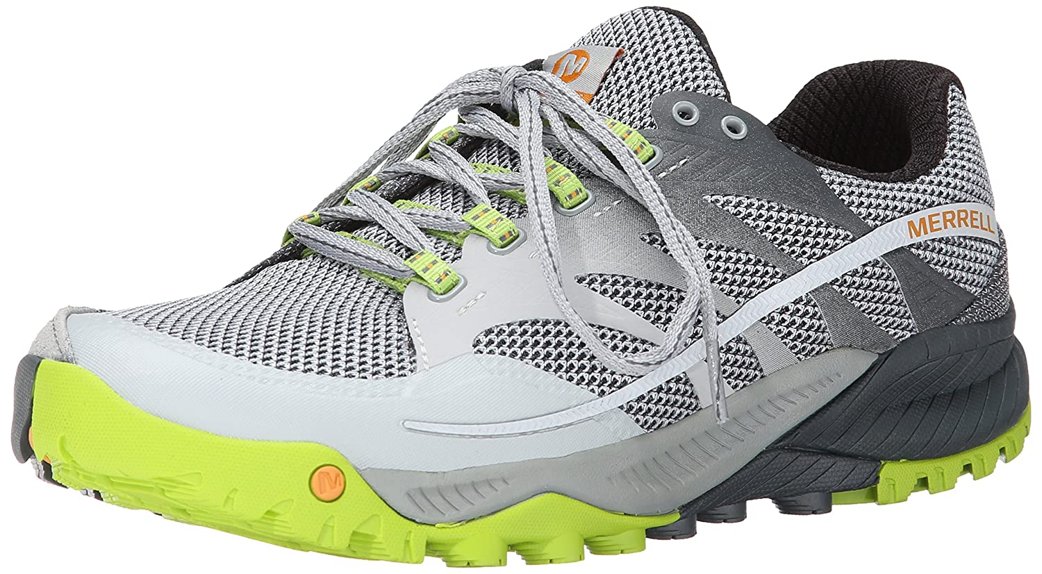 Merrell Men's All Out Charge Trail Running Shoe B00KZO8DLY 12 D(M) US|Grey / Lime Green