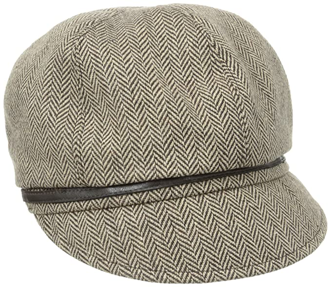 1e61a1f719a San Diego Hat Company Women s Belted Herringbone Newsboy Hat