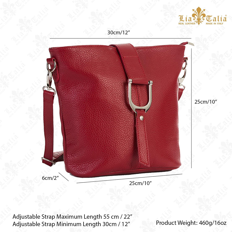 LiaTalia – damhandväska med korskropp – äkta 100 % italienskt läder – liten hink stil axelväska handväska – RUBY Vitt