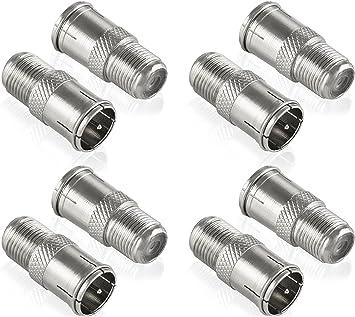 Poppstar 8X Adaptadores coaxiales para Cable de Antena (Conector F rápido Macho a Hembra), Acoplamiento coaxial, Plateado