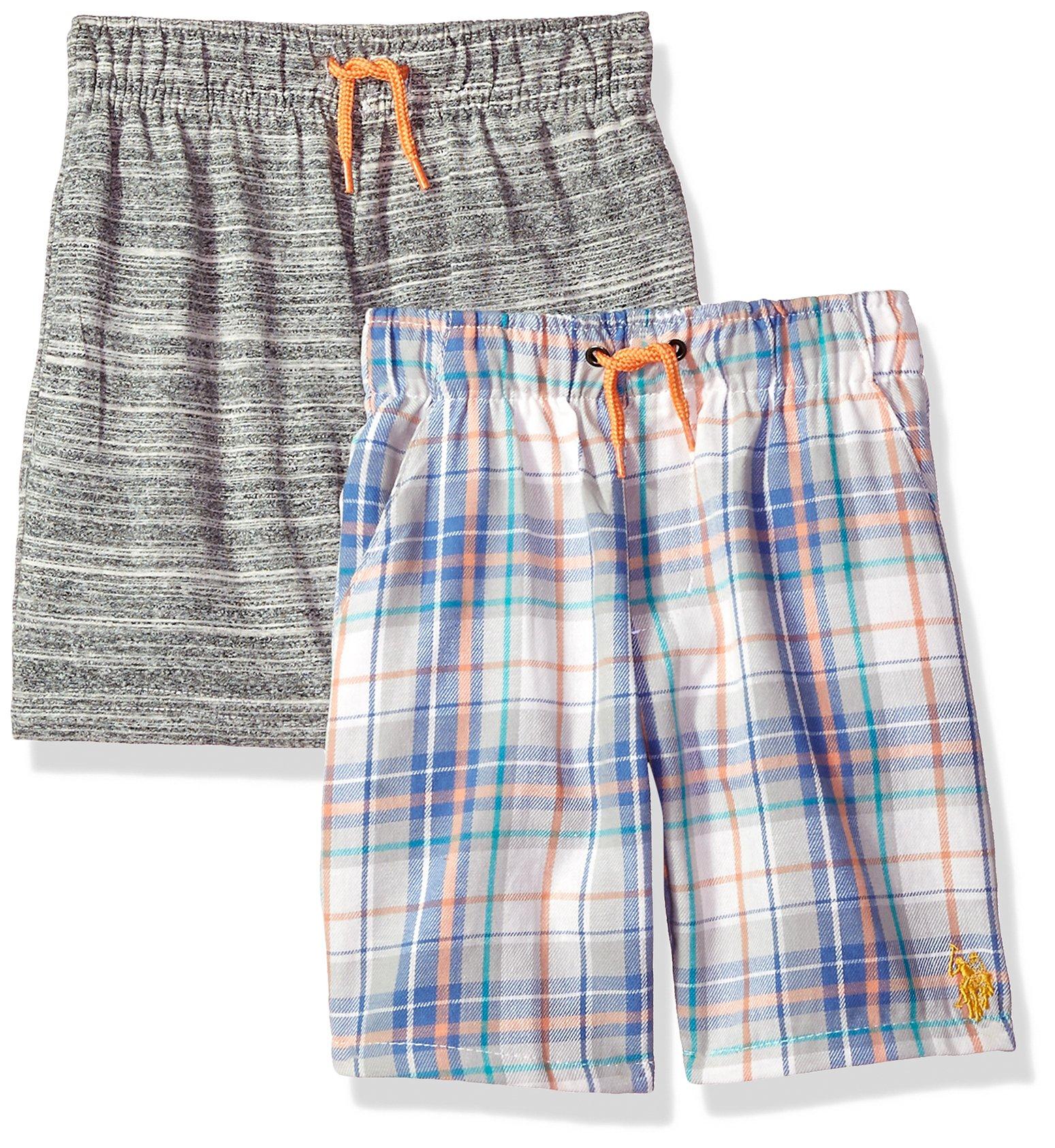 U.S. Polo Assn.. Toddler Boys' 2 Pack Short, Peach Pop Multi Plaid, 4T