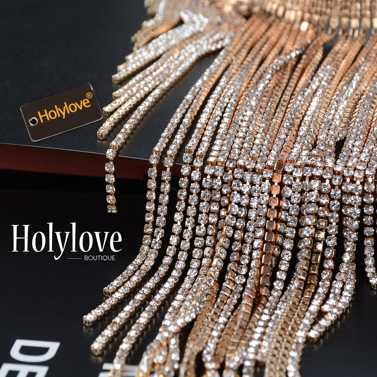 Holylove 2 Colors Tassel Collar Statement Necklace for Women Novelty Fashion Jewelry 1 Set with Gift Box (Gold-23) by Holylove (Image #5)